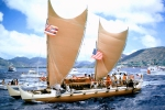 Hōkūle'a arriving home from Tahiti in 1976. Photo by Phil Uhl